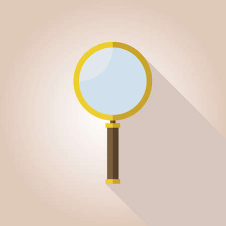 study icon: Magnifying Glass icon flat with long shadow