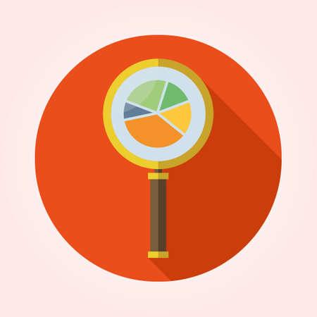 testiculos: Símbolo de Análisis de Negocios con icono de la lupa