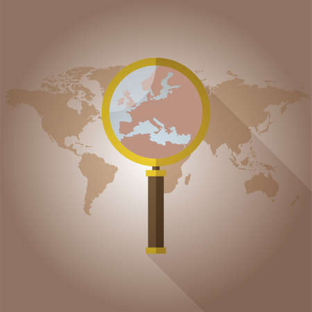 World map Countries magnified glass Illustration