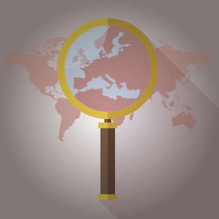 magnified: World map Countries magnified glass Illustration