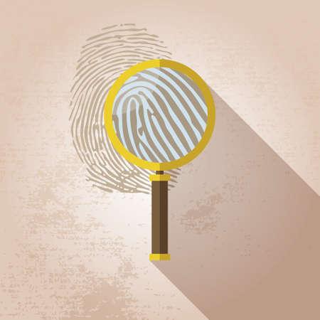 biometrics: Magnifying Glass and Fingerprint