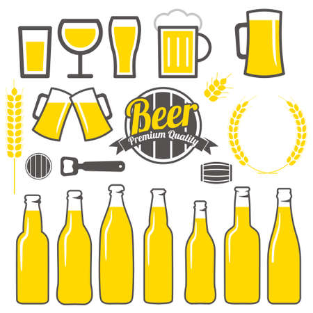 dai: Beer labels icons signs symbols and design elements vector set