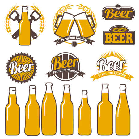 signs and symbols: Beer labels icons signs symbols and design elements vector set