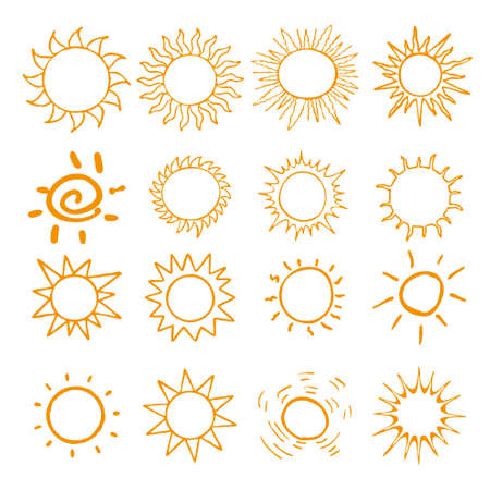 appoints: Hand drawn set of different suns Illustration