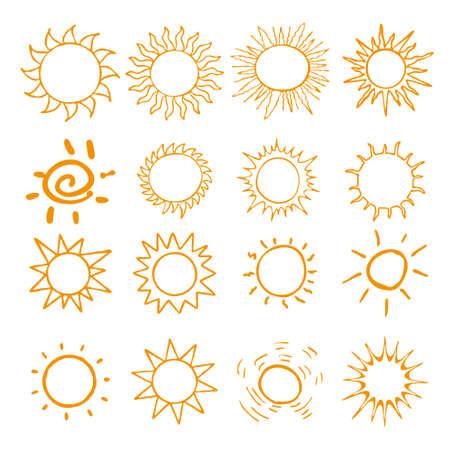 suns: Hand drawn set of different suns Illustration