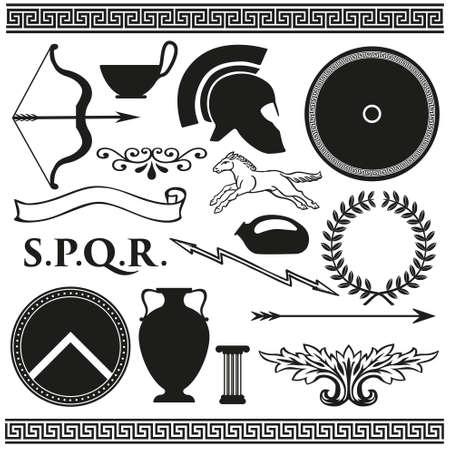 romana: Antiguo espartano griego romano estableció iconos