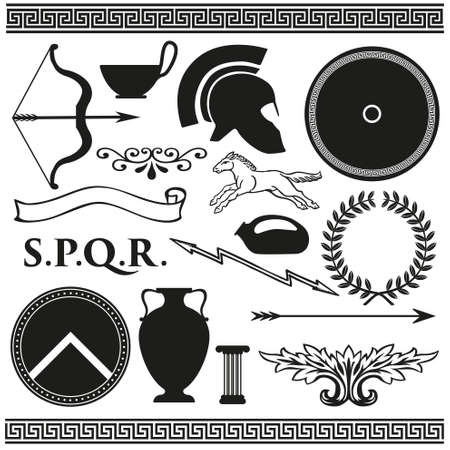 rome: Old greek roman spartan set icons