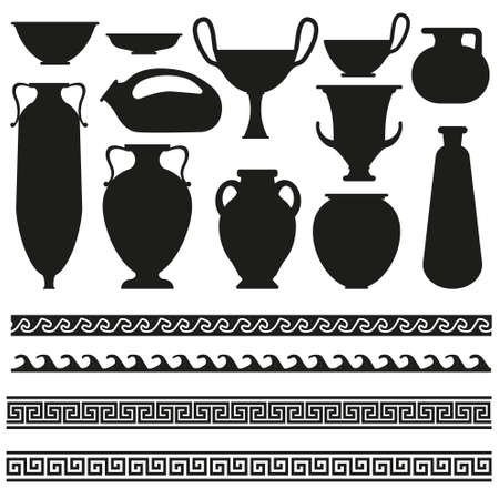 Ancient greek vase with geometric ornament for your designs