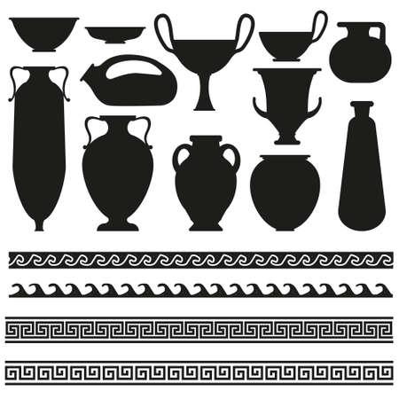 Vaso greco antico con ornamento geometrico per i vostri disegni Archivio Fotografico - 43607367