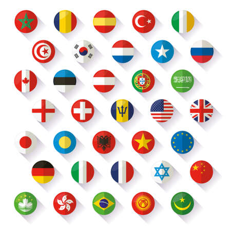 south east: Flag of world icons flat Illustration