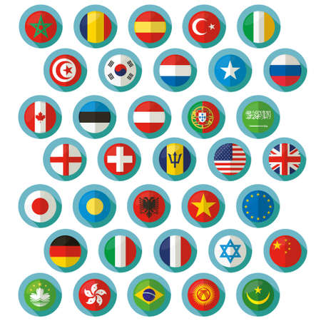 nations: Flag of world. Vector icons Illustration