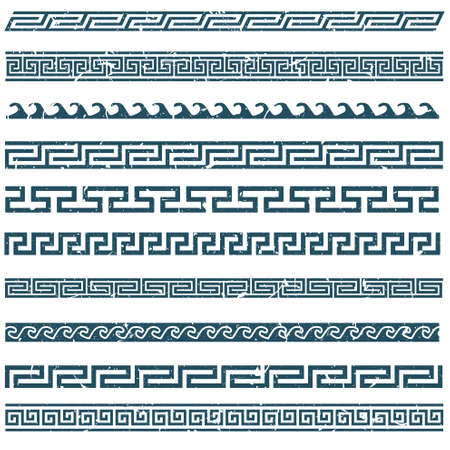 ornaments vector: Old greek grunge border designs Illustration