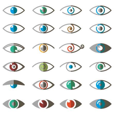 퓌레: Collection of eyes icons and symbols - logo design. Vector illustration