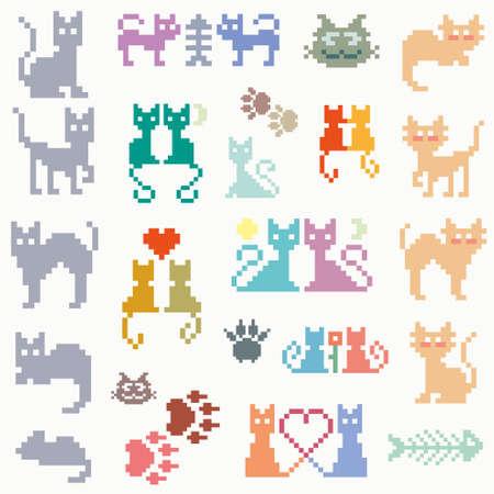 cat grooming: Set vector retro pixel cat