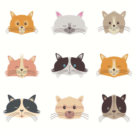 baby sitting: Vector Set Of Different Faces Adorable Cartoon Cats