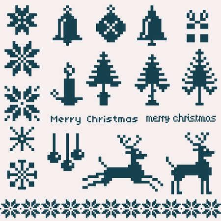 scandinavian christmas: christmas winter pixels Illustration
