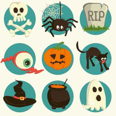 cartoon halloween: Halloween vector set of cartoon icons Illustration