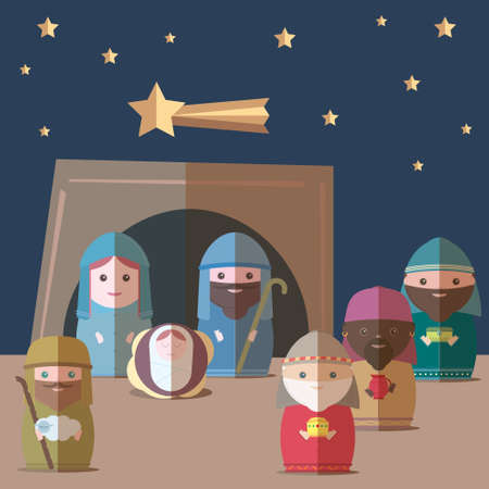 creche: Vector Nativity christian Illustration