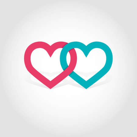 lovers: Linked hearts vector illustration