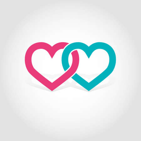 linked: Linked hearts vector illustration
