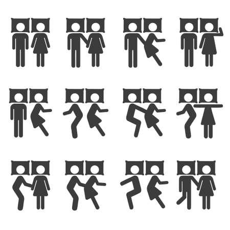 Pares que duermen en posición y B Icono símbolo pictograma sesión