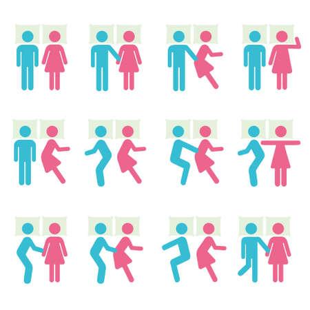 Paar slaaphouding en B Icon Symbol Sign Pictogram Vector Illustratie