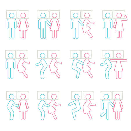 freefall: Couple Sleeping Position and on B Icon Symbol Sign Pictogram