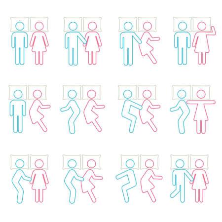 pareja durmiendo: Pares que duermen en posición y B Icono símbolo pictograma sesión