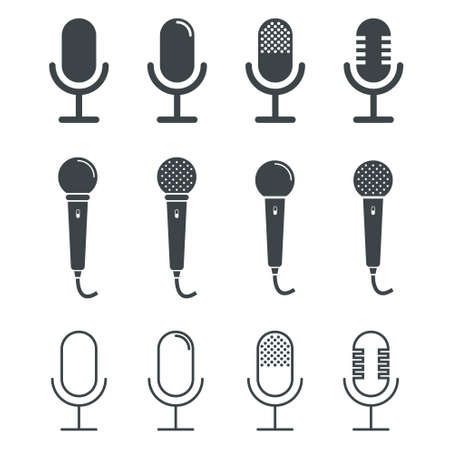 stage set: Microphone icons on white background
