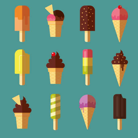 cherries isolated: Vector collection of ice cream and dessert icons design set Illustration