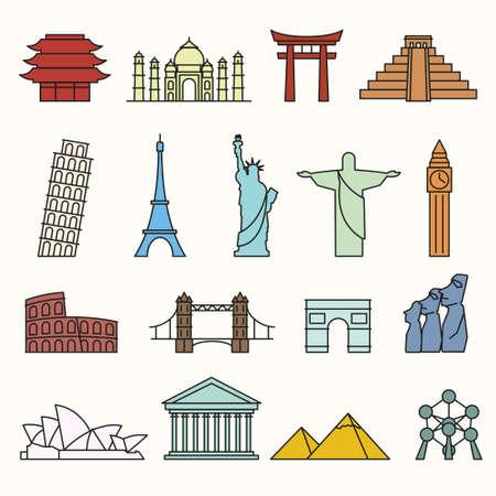 art logo: World landmarks outline icons, abstract vector set Illustration