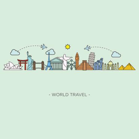 SEYEHAT: Seyahat ve turizm siluetini çizgi stili. vektör çizim