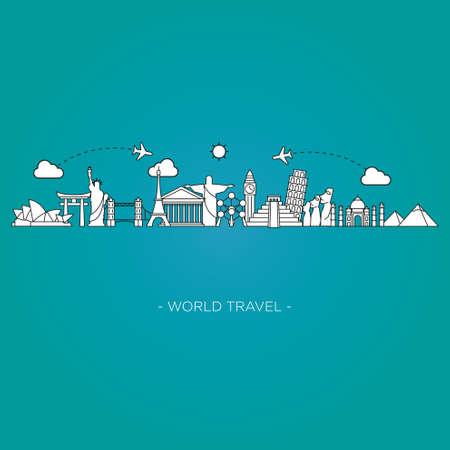 old world: Travel and tourism skyline line style. vector illustration Illustration