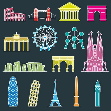 monumento: monumento Europa del vector. línea estilo del arte