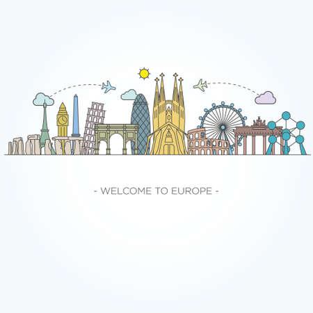 유럽 벡터 기념물입니다. 라인 아트 스타일 일러스트