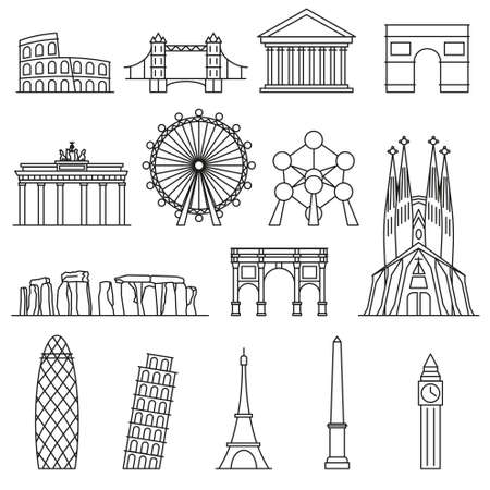 monument: Europe Vector monument. Line art style Illustration