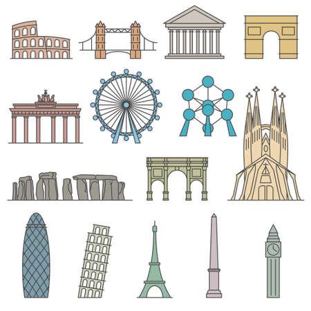Europe Vector monument. Line art style Illustration