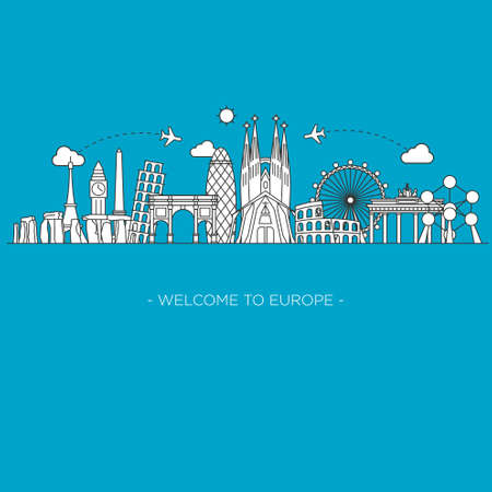 europe map: Europe Vector Line art style monument Illustration