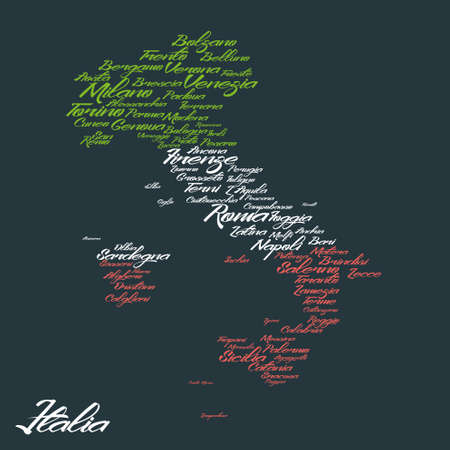 word cloud: Italy map with city names Illustration