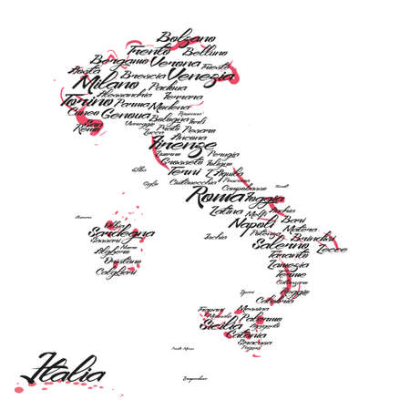 도시 이름이있는 이탈리아지도