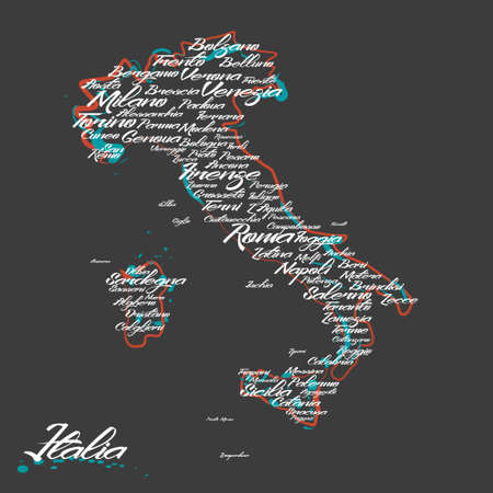 european countries: Italy map with city names Illustration