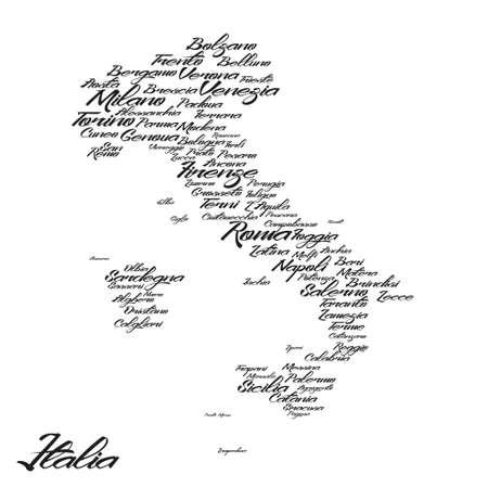 Italia y la nombres de ciudades Foto de archivo - 54024625