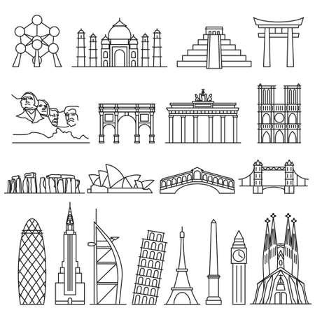landmark: World landmarks outline icons, abstract vector set Illustration