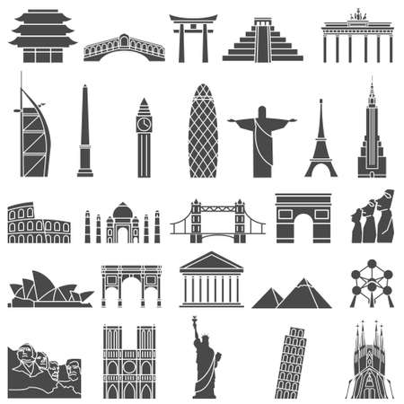 new icon: World famous monuments icon set