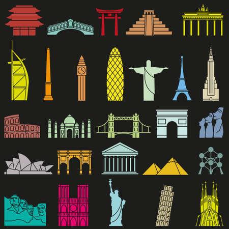 monuments: World famous monuments icon set
