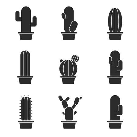 prickly: Abstract cactus collection in illustration Illustration