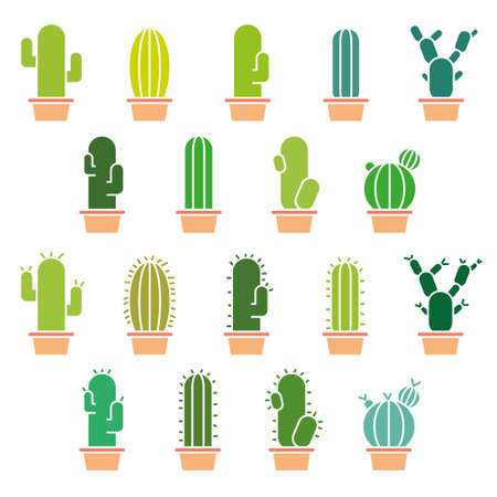 prickly pear: Abstract cactus collection in illustration Illustration