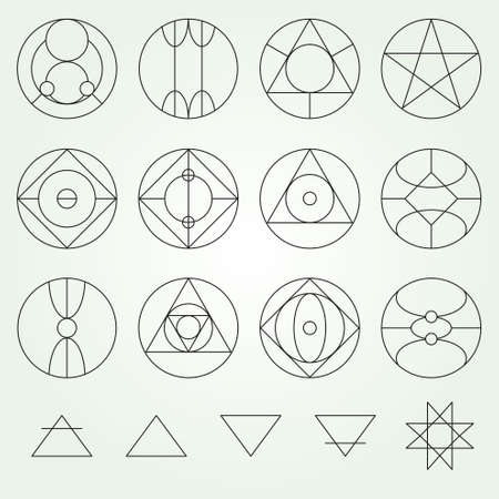 variable: Alchemy symbols collection set, thin line (variable line)