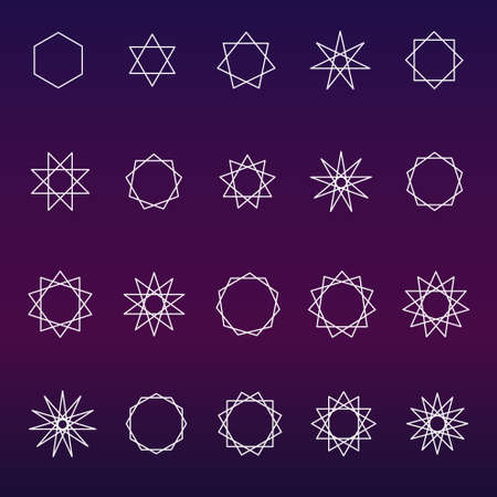 hermetic: Polygons and poly grams sacred geometry set (variable line)
