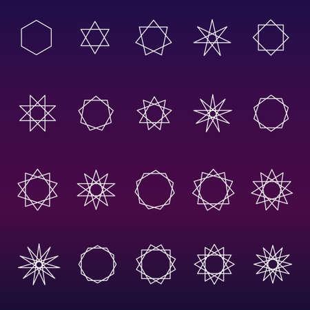 Polygons and poly grams sacred geometry set (variable line)